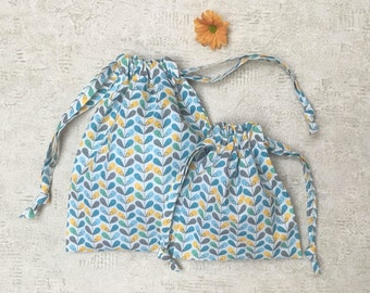 printed smallbags sheet - 2 sizes - cotton fabric reusable bag - zero waste