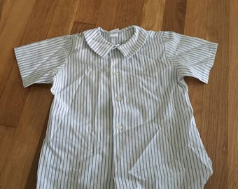 1960's white & blue striped collared shirt - size 4t