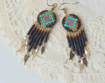 Peru Earrings Vintage Dangle Hand Made  Pierced Earrings, Retro Earrings, Boho Handcrafted Jewelry,  Peruvian Jewelry Handmade, Peru Dangle