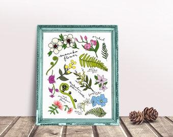 Floral Botanic Arrangement Print, Floral Illustration Print, Wall Art, Floral Print,