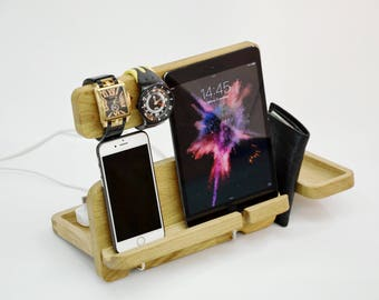 Personalized docking station, Gift for Man, stand iPad, Desk organizer, iPhone 5,6,7 dock, Gear for iPad, iPhone, Docking Desk