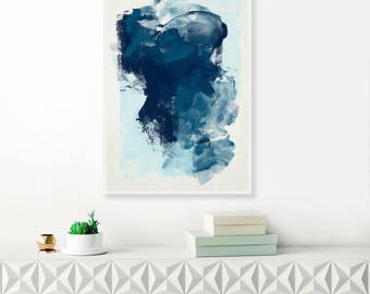 Blue Abstract Painting, Modern Art Print, Abstract Art, Navy Blue Abstract Art, Dark Blue Watercolour and Acrylic, Large Original Wall Art