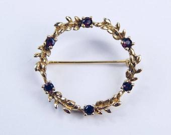 Art Deco 14k gold  1 Ctw  garnet brooch  #10271