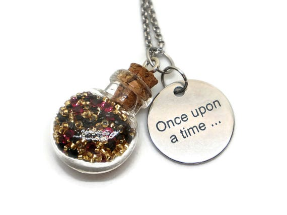 Once Upon a Time jewelry - Bookish jewelry gift - Fairytale gift - Tiny vials pendants - Storyteller - Unique gifts for writers