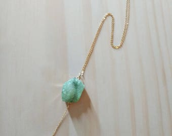 Mint Druzy and White LAVA Stone Diffuser Necklace