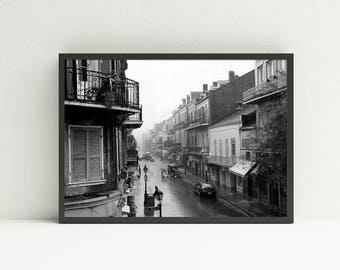 New Orleans Wall Art - French Quarter Wall Art - New Orleans Art Print - Black and White Printable Wall Art - Digital Art Download