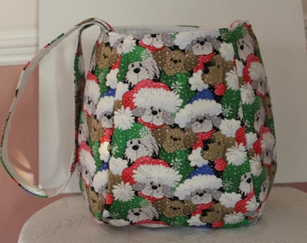 Christmas Puppies Shoulder Bag