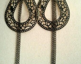 Long Black and Gold Teardrop Chain Earrings, Vintage Black and Gold Chain Earrings, Vintage Earrings for Women, Vintage Long Black and Gold