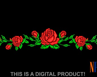 INSTANT DOWNLOAD - Red Roses pattern machine  embroidery design. Flowers embroidery design. Beautiful red roses. Embroidery file