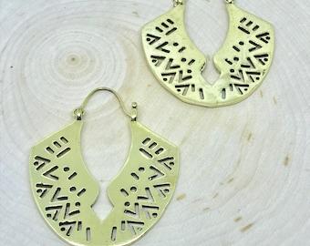 Tribal Earrings, Geometric Earrings, Boho, Brass Earrings
