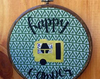 Happy Camper Hand Embroidered Hoop Art