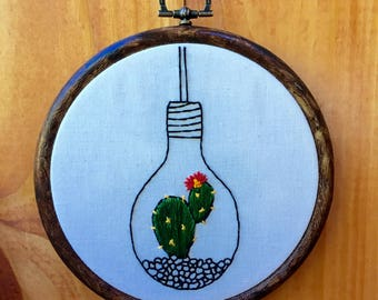 Hanging Lightbulb Cactus Planter Hand Embroidered Hoop Art