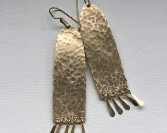 Large Hammered Arch Earrings with Fringe