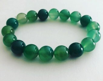 Green Agate Bracelet, Green Bracelet, Gemstone Bracelet, Meditation, Healing Bracelet, Wrist Mala, Chakra Gemstone Bracelet, Handcrafted