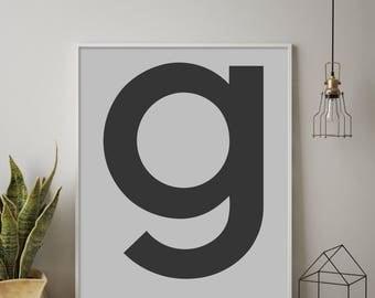 Scandinavian g, Letter g, g Print, g Poster, Letters Art, Letters Typography, Letter Wall Art, Affiche Scandinave, Monogram, Black Letter G