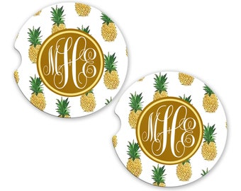 Personalized Monogrammed Car Coasters Pineapples , Cup Holder Coaster, Monogram Gift, Gift for Her Sandstone Coaster