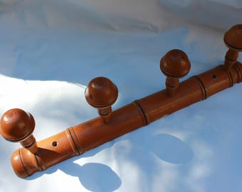 Coat rack, hanger faux bamboo French antique wood 4 peg 1940s