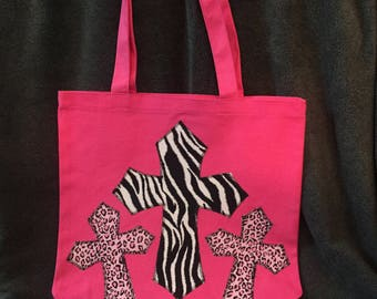 Pink Canvas Tote Bag with Animal Print Applique Crosses