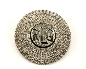 Vintage Initial RLG Onyx Marcasite Inlay Pin/Brooch 925 Sterling BB 922