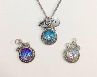 Mermaid Scales Pendant Necklace - Iridescent dragon mermaid scales charm necklace