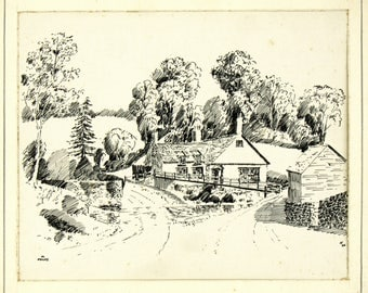 Vintage Ink Drawing, Antique 1930s, Pre WWII British Landscape, Michaelchurch Escley, The Bridge Inn, English Countryside Landscape Picture