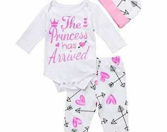 The Princess Has Arrived, Baby Girl 4 Piece Pant Set