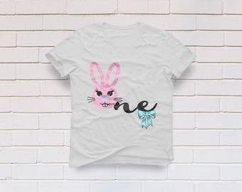 One svg, Birthday svg, Bunny svg, 1st Birthday svg, First Birthday svg, Birthday girl svg, One year old, Cricut, Cameo, Svg, DXF, Png, Eps