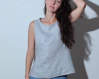 Linen top 10 colors, Summer top, Natural top, Stone washed linen top, Gray top, Plus size linen top, Linen top for women, Linen clothing