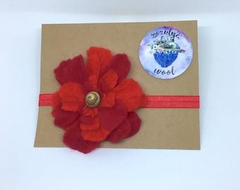 Red Flower Headband,Handmade Red Flower,Gift,Felted Flower,Hand Felted Headband,Wool Headband,Wool Accessories,Headband,Red Headband, Wool