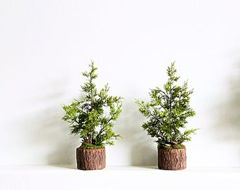 16 mini christmas trees set of 2 artificial table top trees for rustic mantel - Mini Artificial Christmas Trees