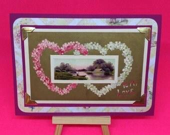Vintage Valentine Card, collectable, unique, handmade Valentines Day Cards, upcycled vintage Valentine's, floral hearts love card