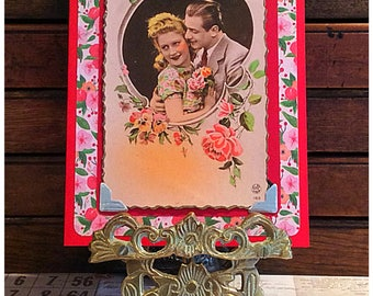 Engagement card Anniversary or wedding card greetings card upcycled vintage postcard love for couple wife girlfriend