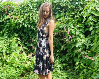 70's Floral Rayon Button Up Dress