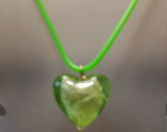 Foiled glass heart pendant necklace