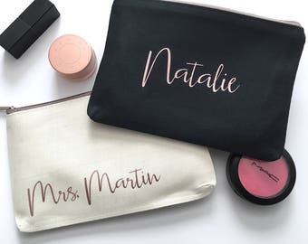 Personalized Makeup Bag - Rose Gold Custom Travel Cosmetics Pouch - Bridesmaid Gift - Small Accessories Bag - Personalized Name Makeup Bag