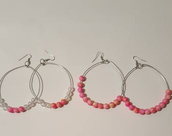 Ladies Large Hoop earrings set/Teens/Pink Lemonade color/jewelry