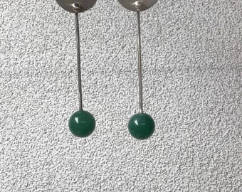 Sterling Silver flat wide disks with aventurine bead droppers