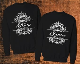 Screen printed King Queen sweatshirts/King and Queen couple sweatshirts/King queen couple matching sweatshirts/ King and queen sweatshirts