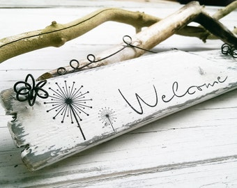 wooden door sign welcome family signs vintage distressed decorations outdoor garden balcony