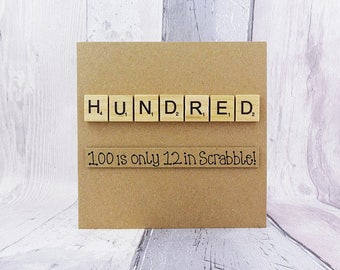 100th birthday card, One hundred Scrabble card, Funny birthday card, Handmade Scrabble tile card, Happy Birthday card, Wooden alphabet tiles