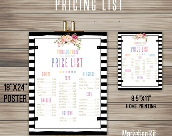 """Boho Price List, Instant Download, 8.5"""" x 11"""", 18"""" x 24"""" , Poster, Digital, Marketing, For Fashion Retailer,home office approved K15D08"""