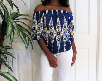 African print offshoulder blue top