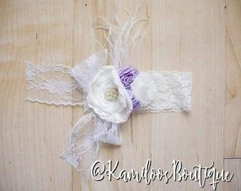White and Lavender Boutique Headband