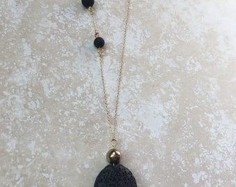Elegant Lava Pendant Diffuser Necklace with Hematite