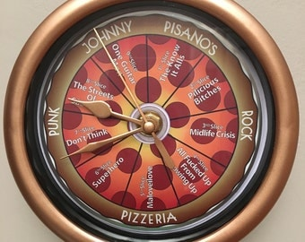 Limited Edition Handmade Pizza CD Wall Clocks