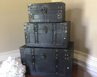 Wedding card trunk set/Wedding card holder trunk/Customizable wedding card holder trunk set/Elegant black trunk set