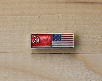 USSR flag USA flag pin Memorable pin Friendship pins Cold war memorabilia gift for him Collectibles pins Made in USSR Soviet pin badge ussr