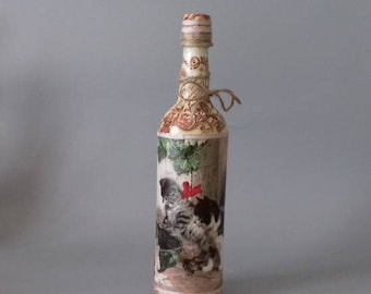 Vintage Kitten Decorated Bottle