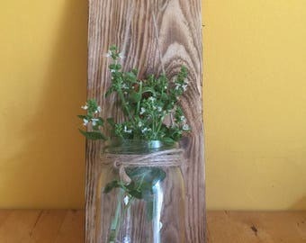 Hanging Mason Jar on Wood