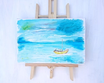 Abstract Hand made painting - A boat at sea.